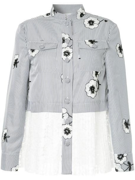 Huishan Zhang shirt striped shirt women floral blue top