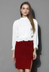top,chicwish,white top,eyelet and flower embroidered top