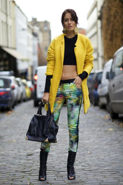 from brussels with love blogger pants yellow coat crop tops handbag
