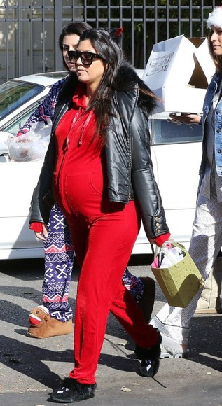 jumpsuit red kourtney kardashian