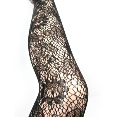 Collants dentelle t.u sexy rã©sille motif2 punk goth noir pin up rock rockabilly