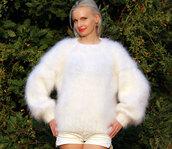 sweater,white,hand,knit,mohair,angora,wool,cashmere,alpaca,soft,fluffy,supertanya,crewneck