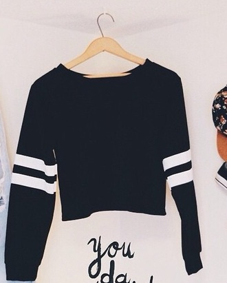 top black white shirt sweater style stripes crop cropped sweater bag