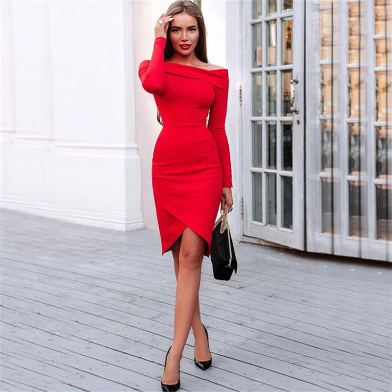 d83c73fea96 Long Sleeve Bardot Midi Dress Red