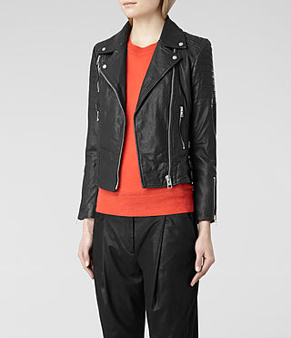 Womens Papin Leather Biker Jacket (Black) | ALLSAINTS.com