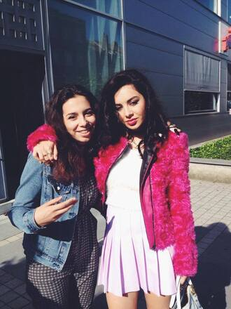 fan fancy sassy brunette charli xcx coat fushia skirt fluffy coat