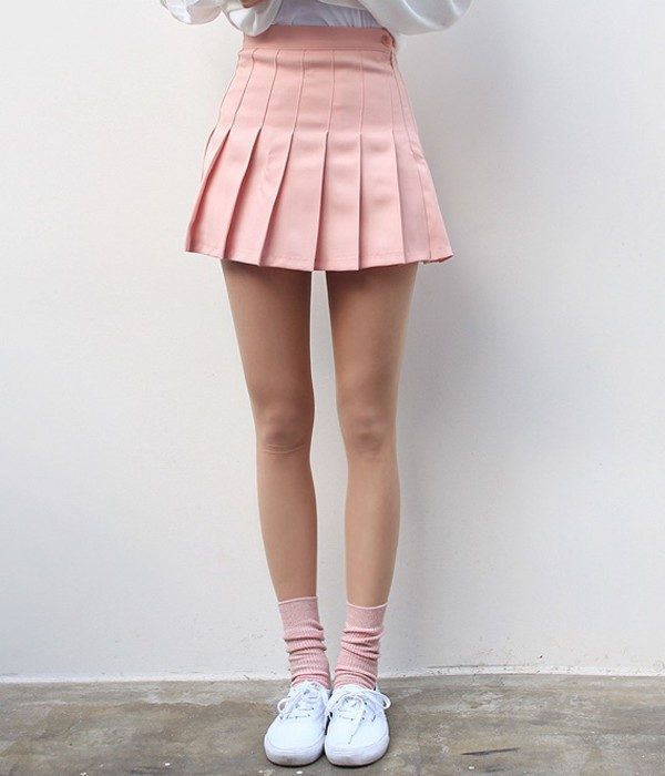 Skirt: pink, pastel, pleated skirt, pink skirt, pastel pink ...