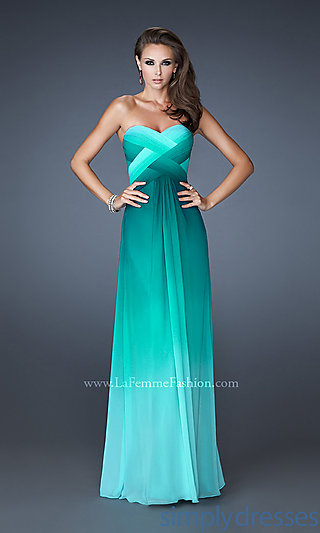 Open Back Prom Dress, Long Strapless Ombre Gowns - Simply Dresses