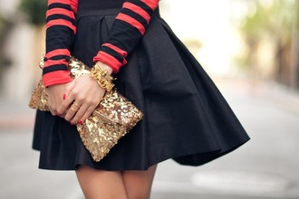 bag gold clutch sequins gold sequins skirt black skirt skater skirt bracelets ring