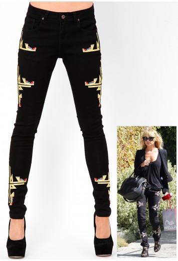 Jesy tribal seam detail skinny jeans