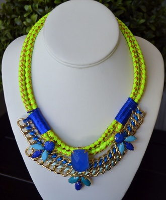 jewels aztec style necklace style fashion blue dress royal blue dress yellow dress accessories big necklace baby blue big necklace big jewel summer dress summer top