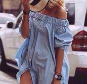 dress,jeans,denim,shirt,long shirt,blue,sky blue,watch,nike,fashion,ruffle sleeve,ruffled top