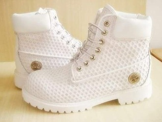shoes white cocaine white timberlands gold