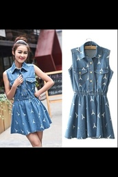 dress,paris denim dress