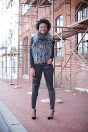 skinny hipster,blogger,ripped jeans,faux fur vest,make-up,jacket,jeans,shoes,grey fur vest