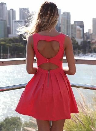 Pink Day Dress - Pink Heart Cutout Dress with | UsTrendy