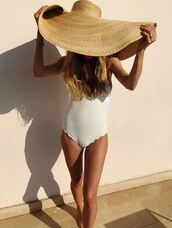 hat,blogger,instagram,white,white swimwear,pernille teisbaek