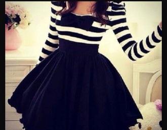 dress striped dress black and white dress bow dress skater dress