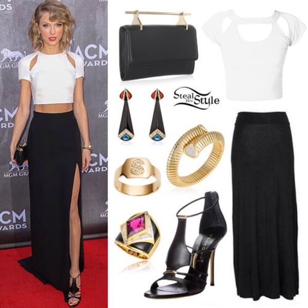 skirt black skirt taylor swift white top slit skirt