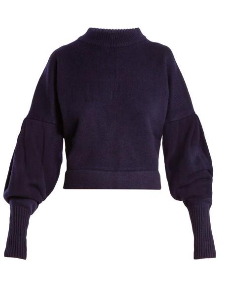 sweater pleated navy