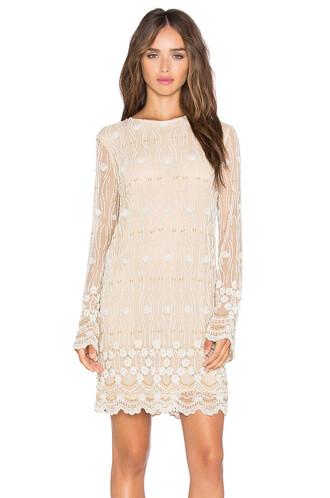 dress shift dress long embellished cream