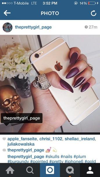 nail polish nails iphone 6 plus gold burgundy warm pretty girly jewels