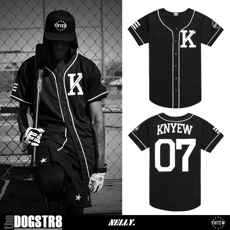 unisex knyew letter printed streetwear jersey hip hop oversize sporty varsity short sleeve open. Black Bedroom Furniture Sets. Home Design Ideas