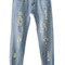 Romwe | ripped floral hem denim pants, the latest street fashion