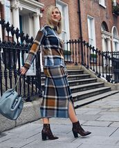 shoes,ankle boots,heel boots,plaid skirt,top,bag,midi dress