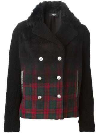 jacket plaid fur black