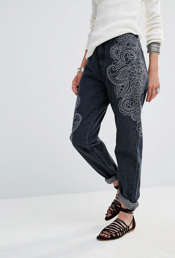 jeans printed pants want need paisley boyfriend jeans