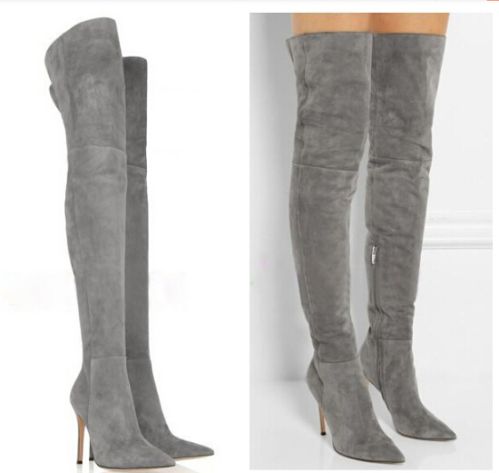 shop wholesale suede boot high heel slim thigh high