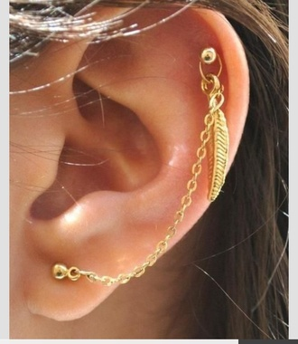 jewels feather earrings earrings piercing cartilage cartilage piercing pierced chain helix piercing jewelry boho jewelry leaf earrings ear cuff ear wrap feathers boho bohemian