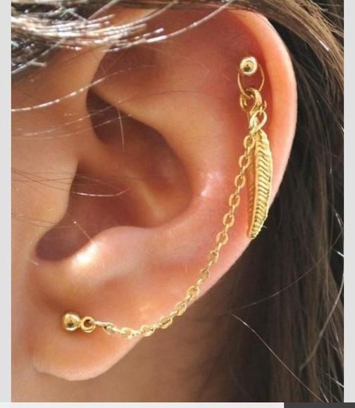 jewels piercing feather earrings earrings piercings cartilage cartilage piercing pierced chain