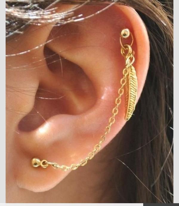 jewels feather earrings earrings piercing piercing cartilage cartilage piercing pierced chain helix piercing jewelry boho jewelry leaf earrings ear cuff ear wrap feathers boho bohemian