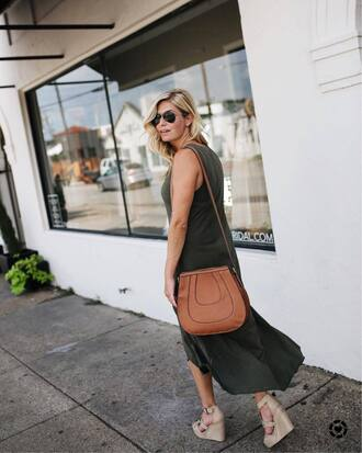 dress tumblr beautiful green dress midi dress sleeveless sleeveless dress bag brown bag sandals sandal heels wedges wedge sandals shoes