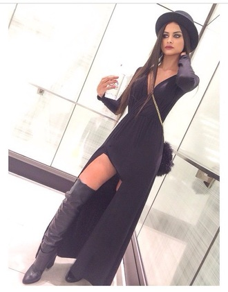 dress sophia miacova black dress black maxi dress slit dress long sleeves long sleeve dress style fashion shoes bag hat make-up