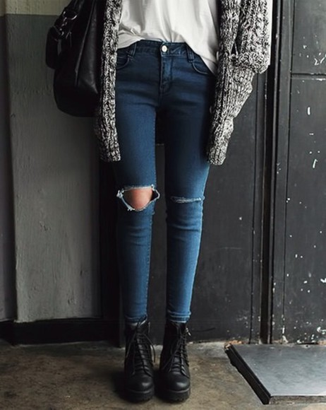 shoes combat boots black boots denim ripped jeans creepers jeans jeans cardigan cardigan grey warm winter sweater sweet