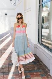 dress,tumblr,midi dress,halter neck,halter neck dress,sandals,wedges,wedge sandals,bag,round tote,tote bag,shoes