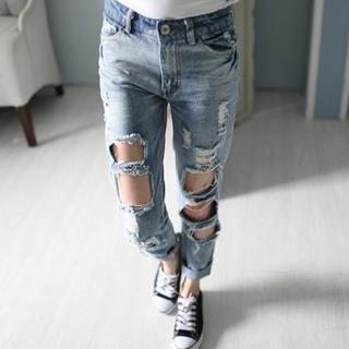Distressed Slim-Fit Jeans - Mini Jule | YESSTYLE