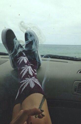 underwear socks weed socks shoes nike nike sneakers clothes black weedsocks red sneakers sneaks sock yolo swag huf high socks white