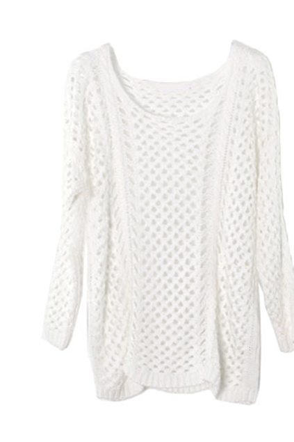 [US$62.99] - Hollow Scoop Neck White Jumper : ThatsPoint.com