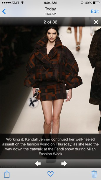 coat fendi fashion kendall jenner model