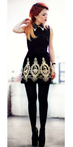 embroidered little black dress collar dress black embroidered dress gold embroidered dress