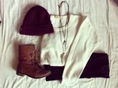 sweater,shoes,beanie,hat,cap,jeans,pull,beige,marron,burgundy,pants,beautymanifesto,tan,boots,laces,comfy,military style,white,jewels,combat boots,clothes,blouse,lace up boots,shirt,jawels,white sweater,brown leather boots,leggings,black leggings,denim,black jeans,necklace,outfit,fall outfits