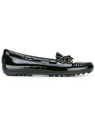 women daisy loafers leather black shoes