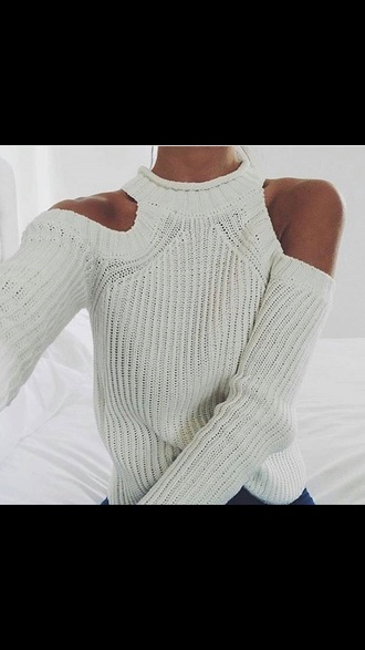 sweater cream high neck turtle cold shoulder shoulder less knitted wool