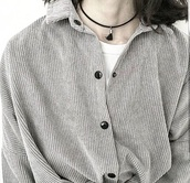 shirt,blouse,corduroy,cardigan,corduroy jacket,grey,jacket,coat,tumblr grunge,tumblr outfit,jewels,jewelry,necklace,choker necklace,tassel,black choker,accessories,grunge,grunge jewelry