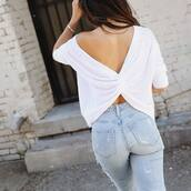 top,tumblr,open back,backless top,backless,white top,denim,jeans