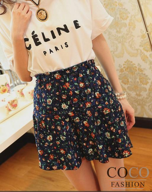 Blue Sweet Floral Teenie Weenie Korean Mini Skirt